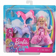 BARBIE DREAMTOPIA CHELSEA DOLL & UNICORN